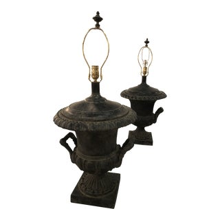Vintage French Black Urn Table Lamps -A Pair For Sale