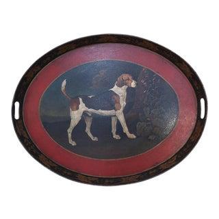 Vintage Oval Tole Beagle Dog Portrait Serving Tray For Sale