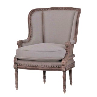 French Linen With Burlap Accent Bergere Chair