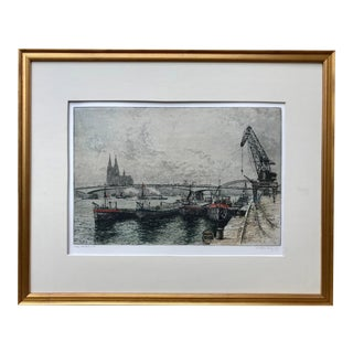 Vintage Mid Century Etching Cologne Germany Harbor by Josef Eidenberger 1955 For Sale