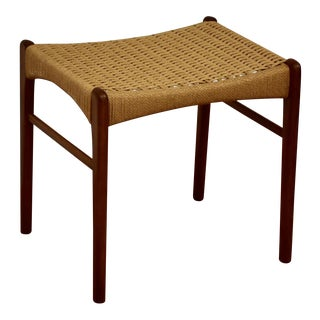 Danish Modern Teak and Papercord Ottoman