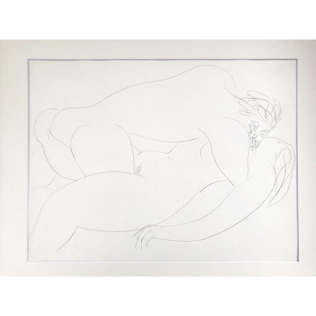 Vintage figural abstract erotic nude drawing. From a group of drawings that were marked Paris '51 . Strong influence from...
