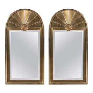 Pair of Mid-Centuy Modernist Arch Form Mirrors in Brushed Brass by Mastercraft