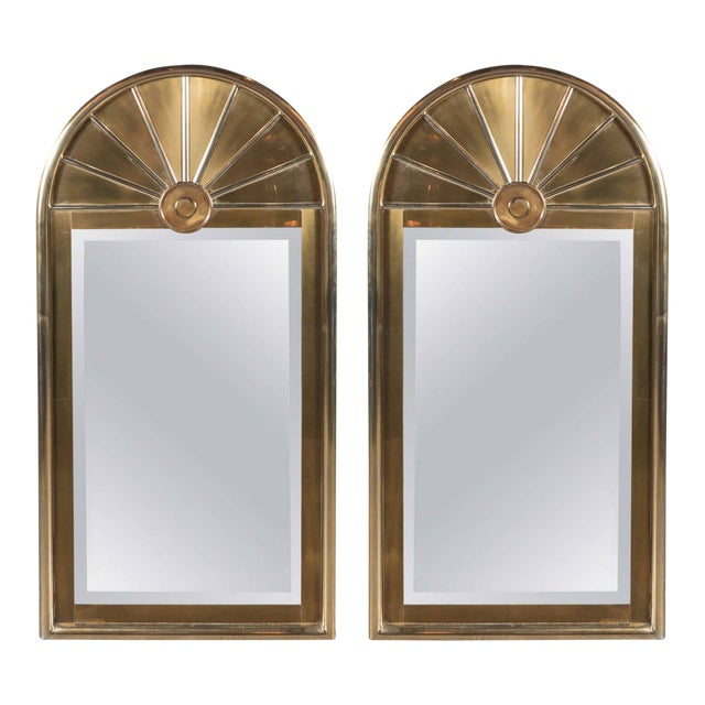 Pair of Mid-Centuy Modernist Arch Form Mirrors in Brushed Brass by Mastercraft - Image 1 of 6