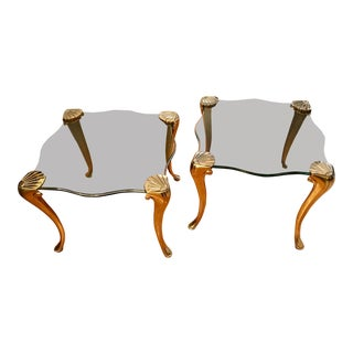 Pair of Maison Charles Brass & Glass Side Tables For Sale