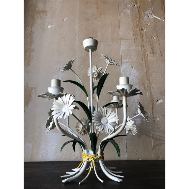 Vintage Tole Chandelier With Daisies For Sale In Kansas City - Image 6 of 10