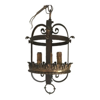 1940s Spanish Rustic Wrought Iron Chandelier For Sale