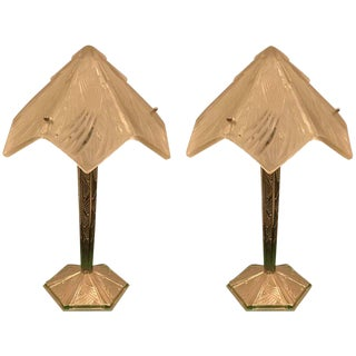 French Art Deco Table Lamps Signed by Hettier and Vincent - A Pair For Sale