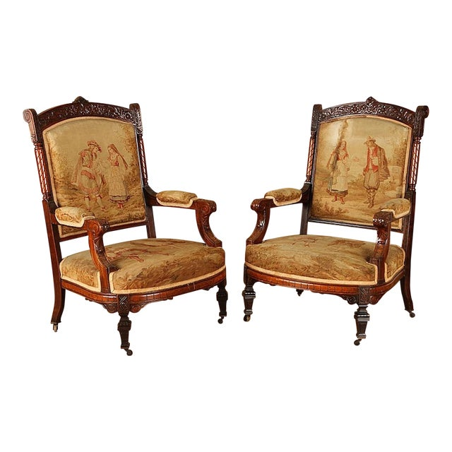 19th Century Rosewood Chairs - A Pair For Sale