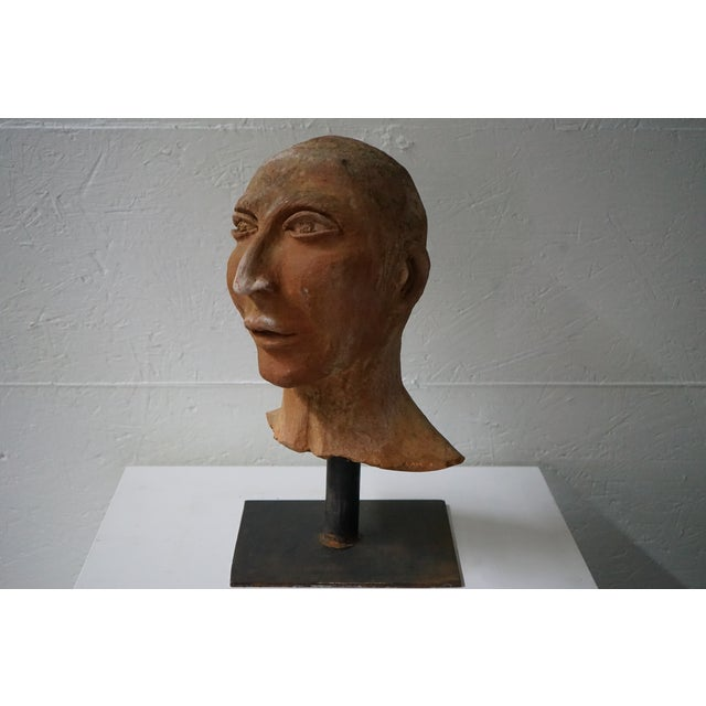 French Vintage Terra Cotta Bust on Iron Stand For Sale - Image 3 of 8