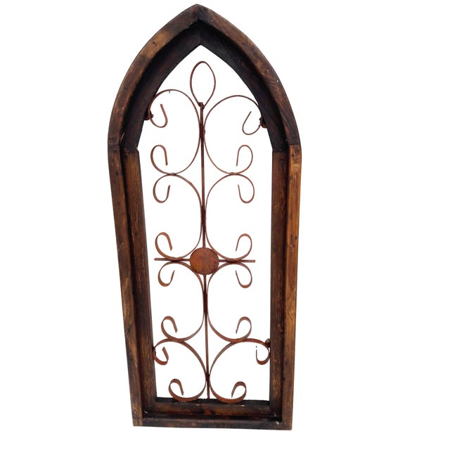 Shabby Chic Pair Rustic Burnt Wood Shabby Garden Architectural Windows Shutters Cathedral Trellis For Sale - Image 3 of 6