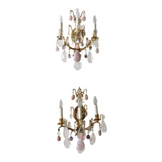 1960s French Louis XV Style Rock Crystal & Brass Wall Light Sconces - a Pair For Sale