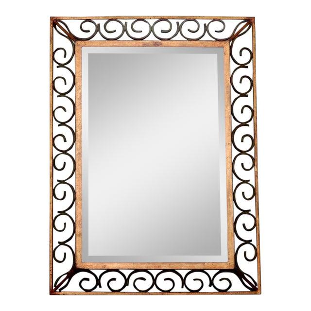 Art Deco Gilt Iron Scroll Framed Rectangular Mirror For Sale