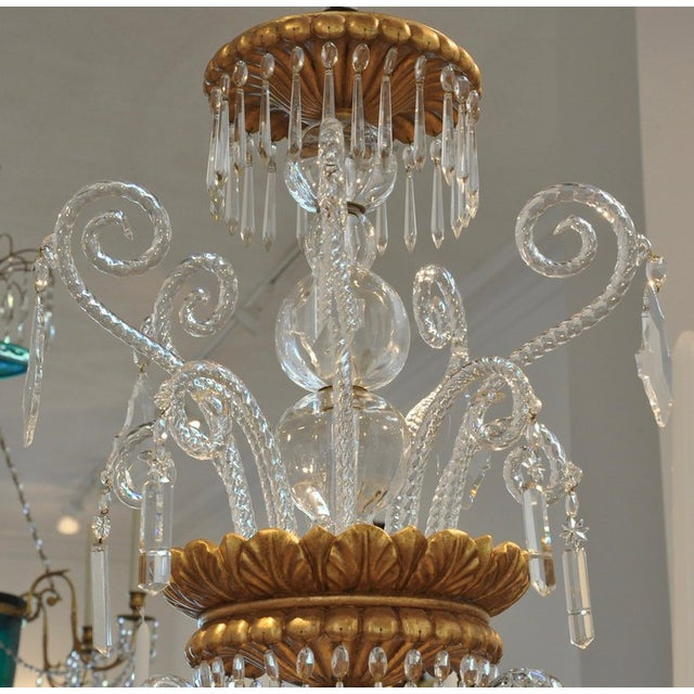 Murano Neoclassical Glass and Gilt Italian Murano or Genoese Chandelier For Sale - Image 4 of 6