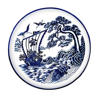 19th Century Chinese Blue & White Porcelain Export Decorative Plate For Sale