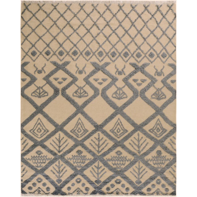 Blue Moroccan High-Low Pile Arya Tammera Ivory/Blue Wool Rug -8'1 X 10'9 For Sale - Image 8 of 8