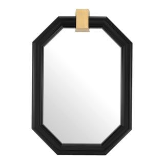 Octagonal Black Frame Wall Mirror For Sale