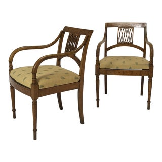19th Century Empire Karl Johan Birch Armchairs - a Pair