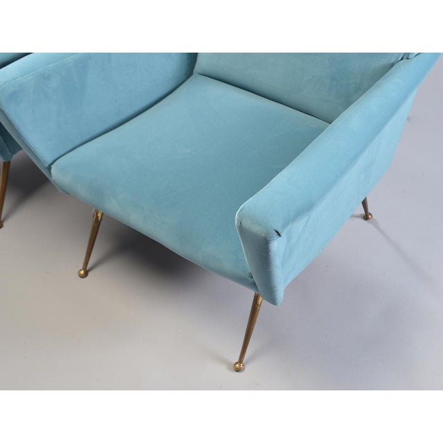 Contemporary Mid-Century Italian Arm Chairs With New Sky Blue Upholstery - a Pair For Sale - Image 3 of 11