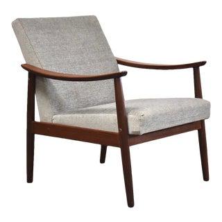 Teak & Grey Mid-Century Modern Lounge Chair For Sale
