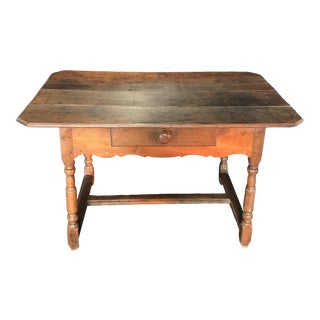 Rustic 19th Century French Country Walnut Side Table or Desk For Sale