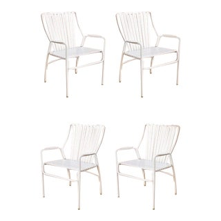 Vintage Mid Century White Aluminum Vinyl Strap Patio Outdoor Dining Chairs- Set of 4 For Sale