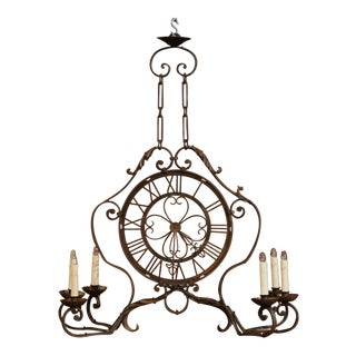 Early 20th Century French Six-Light Iron Clock Chandelier With Original Finish For Sale