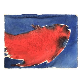 Original Vintage Robert Cooke Abstract Fish Painting 1970's For Sale