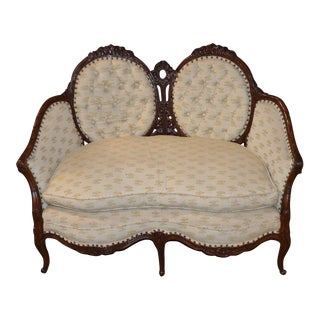 Vintage Carved Walnut French Style Loveseat