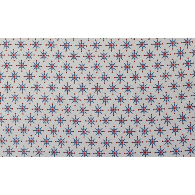 Transitional Virginia Kraft Prinz Fabric, 3 Yards in Denim/barn red For Sale - Image 3 of 3