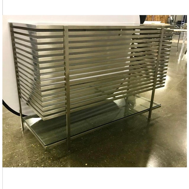 Chrome Mid-Century Modern Style Laser Cut Steel, Glass and Chrome Dry Bar For Sale - Image 7 of 13