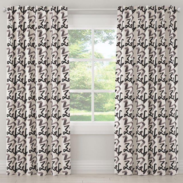 "Black 84"" Blackout Curtain in Black Ribbon by Angela Chrusciaki Blehm for Chairish For Sale - Image 8 of 8"