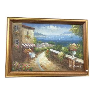 "Vintage Mid Century ""Coastal Water Beach Path Landscape"" Original Painting by J. Burnett For Sale"