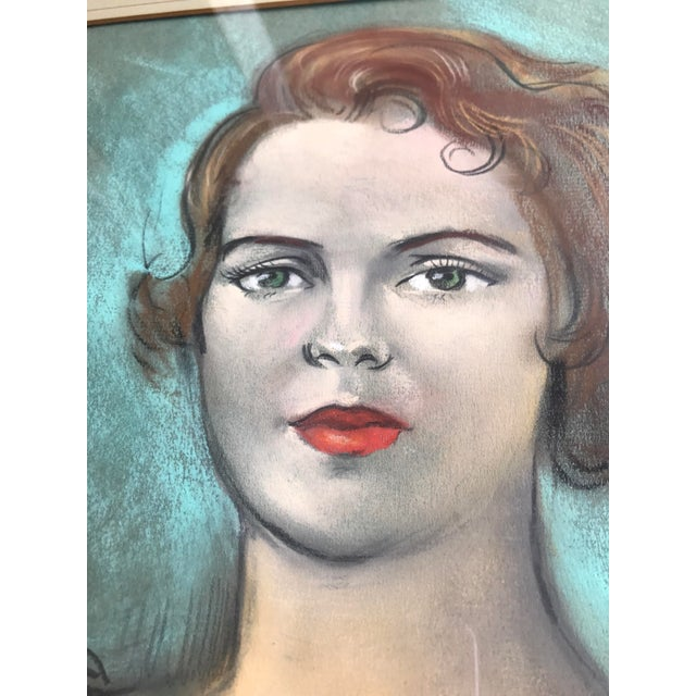 Chalk Vintage Chalk Pastels Female Portrait Drawing For Sale - Image 7 of 9