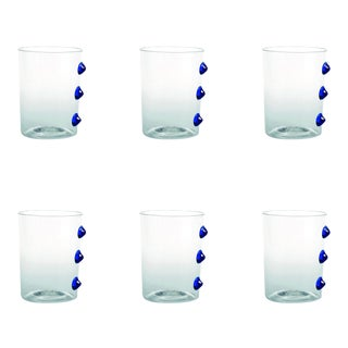 Petoni Tumbler in Transparent with Blue Dots - Set of 6 For Sale