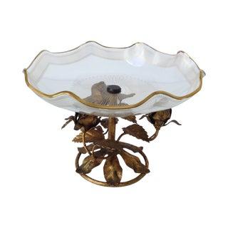 Gilt Italian Tole & 22k Gold Glass Center Bowl I For Sale