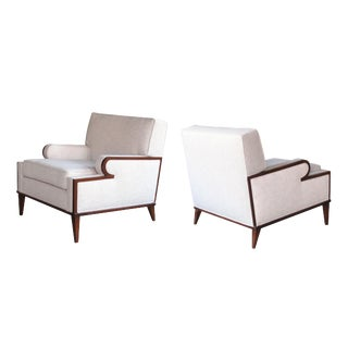 A Stylish and Comfortable Pair of American 1960's Upholstered Club Chairs For Sale