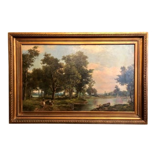 Antique English Late 19th Century Oil Painting, Landscape With Farmhouse.