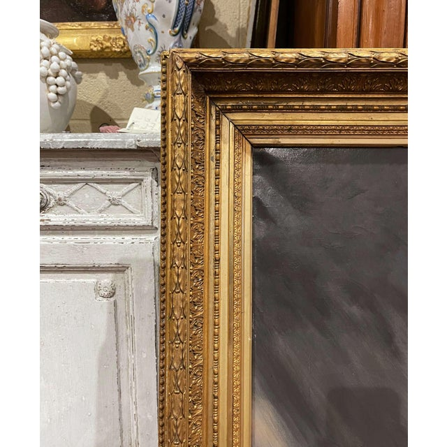Canvas 19th Century French Oil on Canvas Cow Painting in Carved Gilt Frame For Sale - Image 7 of 13