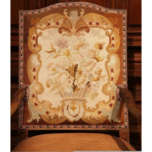 Mid 18th Century French Leather & Needlepoint Armchairs - a Pair For Sale - Image 5 of 10
