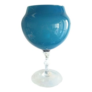 1960s Slate Blue Hand Blown Glass Twist Stem Compote For Sale