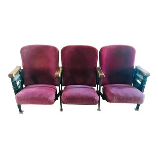 1920s Vintage Cleveland Theater Seats/Chairs - Set of 3 For Sale