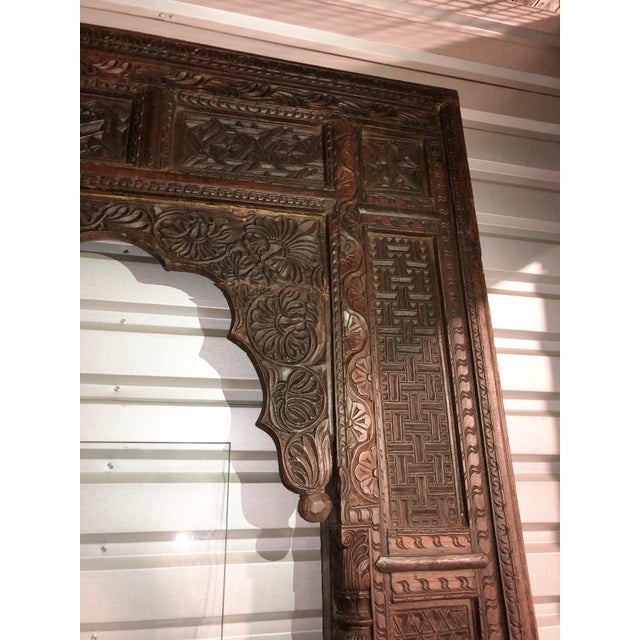 Antique Indian Carved Welcome Gate Teak Arch For Sale - Image 6 of 12