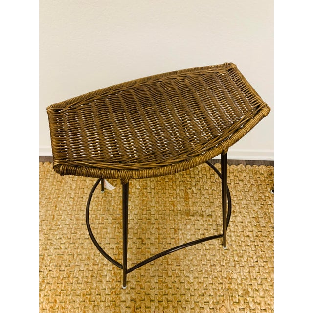 Mid-Century Modern Wrought Iron and Wicker Bar Stools by Arthur Umanoff - a Pair For Sale In Palm Springs - Image 6 of 9