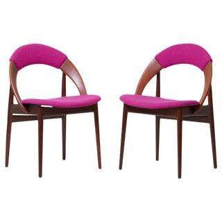 Pair of Rare Dining Chairs in Teak by Arne Hovmand Olsen For Sale