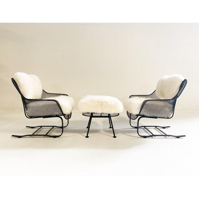 Russell Woodard Sculptura Lounge Chairs and Ottoman With Sheepskin Cushions For Sale - Image 10 of 10