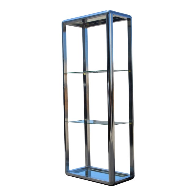 1970s Chrome Mirrored Display Case Stand For Sale