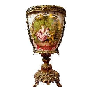 19th C. Sevres Style Handpainted Cachepot