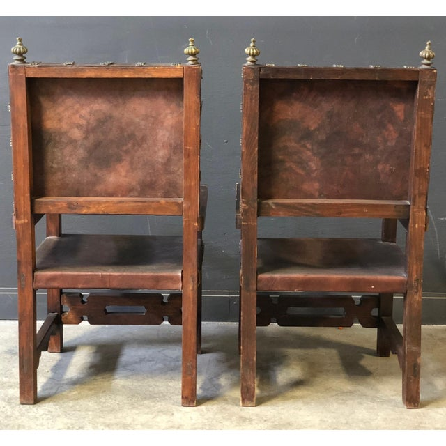Pair of Antique Leather and Wood Spanish Revival Arm Chairs For Sale - Image 4 of 10