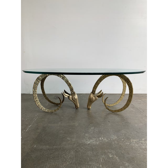 Hollywood Regency Hollywood Regency Brass Ibex Rams Head Coffee Table For Sale - Image 3 of 13